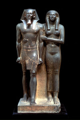 King Menkaura and Queen Old Kingdom, Fourth Dynasty. c. 2490-2472 B.C.E. Greywacke Representational, proportional, frontal viewpoint, hierarchical structure. They were perfectly preserved and nearly life-size. This was the modern world's first glimpse of one of humankind's artistic masterworks, the statue of Menkaura and queen.