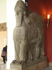 Lamassu from the citadel of Sargon II, Dur Sharrukin. New-Assyrian, c. 720-705 bce Alabaster