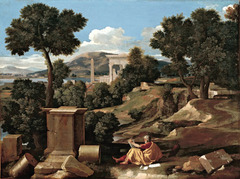 Landscape with St. John on Patmos by Nicolas Poussin, 1640
