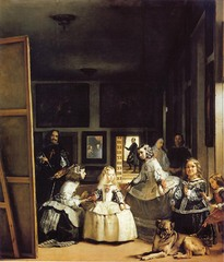 Las Meninas  Diego Velázquez. c. 1656 C.E. Oil on canvas The painting represents a scene from daily life in the palace of Felipe IV. The points of light illuminate the characters and establish an order in the composition. The light that illuminates the room from the right hand side of the painting focuses the viewer´s look on the main group, and the open door at the back, with the person positioned against the light, is the vanishing point.