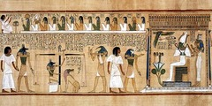 Last judgement of Hu-Nefer, from his tomb New Kingdom, 19th Dynasty. c. 1,275 B.C.E. Painted papyrus scroll In Hu-Nefer's scroll, the figures have all the formality of stance,shape, and attitude of traditional egyptian art. Abstract figures and hieroglyphs alike are aligned rigidly. Nothing here was painted in the flexible, curvilinear style suggestive of movement that was evident in the art of Amarna and Tutankhamen. The return to conservatism is unmistakable.