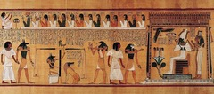Last judgment of Hu-Nefer, from his tomb (page from the Book of the Dead). New Kingdom, 19th Dynasty. c. 1275 B.C.E. Painted papyrus scroll