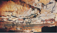 Left wall of the Hall of the bulls in the cave at Lascaux, France
