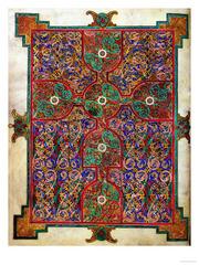 Lindisfarne Gospels: St. Matthew, cross-carpet page; St. Luke portrait page; St. Luke incipit page. Early medieval c. 700 ce. Illuminated manuscript