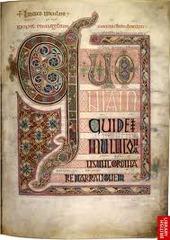 Lindisfarne Gospels; St. Matthew, cross-carpet page; St. Luke portrait page; St. Luke incipit page