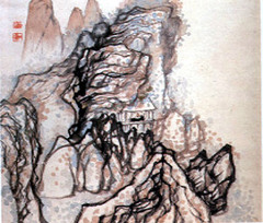 Man in a House Beneath a Cliff,Shitao,ink and color on paper,Chinese Art