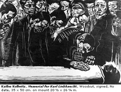 Memorial Sheet for Karl Liebknecht  Käthe Kollwitz. 1919-1920 C.E. Woodcut Created in 1920 in response to the assassination of Communist leader Karl Liebknecht during an uprising of 1919. This work is unique among her prints, and though it memorializes the man, it does so without advocating for his ideology.