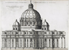 Michelangelo's Elevation for St. Peter's by Etienne Duperac.  1546-1564