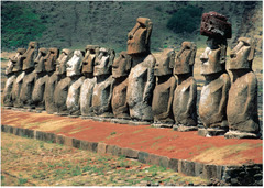 Moai on platform (ahu). Rapa Nui (Easter Island). c. 1100-1600 C.E. Volcanic tuff figures on basalt base.