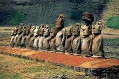 Moai on platform. Easter Island. 1100-1600 ce. volcanic tuff figures on basalt base