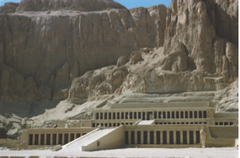 Mortuary temple of Hatshepsut. Near Luxor, Egypt. New Kingdom, 18th Dynasty. c. 1473-1458 B.C.E. Sandstone, partially carved into a rock cliff, and red granite.