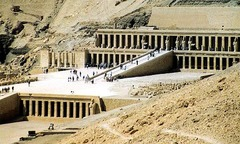 Morturary temple of Hatshepsut. Near Luxor, Egypt. New Kingdom, 18th dynasty. c. 1473-1458 bce partially carved into a rock cliff and red granite