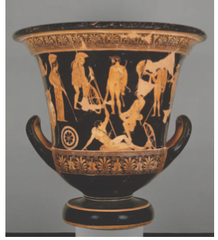 Niobides Krater. Anonymous vase painter of Classical Greece known as the niobid Painter. c 460-450 bce. Clay, red-figure technique (white highlights)