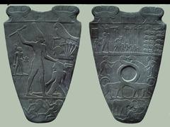 Palette of King Narmer. Predynastic Egypt. c. 3000-2920 BCE. Greywacke.