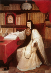 Portrait of Sor Juana Inés de la Cruz  Miguel Cabrera. c. 1750 C.E. Oil on canvas. Considered the first feminist of the Americas, sor Juana lived as a nun of the Jeronymite order (named for St. Jerome) in seventeenth-century Mexico. Renown of Sister Juana as one of the most important early poets of the Americas. The inscription identifies the image as a faithful copy after a portrait that she herself made and painted with her own hand.