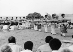 Presentation of Fijian mats and tapa cloths to Queen Elizabeth II  1953-1954 royal tour #223 made by bark and Pandanus plant   -photograph of them performing  -multimedia performance -meant to honor the queen -showed tradition through clothing, songs, dance, etc.  -Queen Elizabeth II going on a royal tour, visiting places with strong native influences -When she came to Fiji, the natives gave her a taste of their traditional culture; presented traditional mats to the Queen