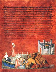 Rebecca and Eliezer at the Well and Jacob Wrestling the Angel, from the Vienna Genesis. Early Byzantine. early 6th century ce Illuminated manuscript....tempera, gold, and silver on purple vellum
