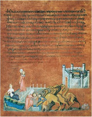 Rebecca and Eliezer at the Well and Jacob Wrestling the Angel, from the Vienna Genesis. Early Byzantine. early 6th century CE. illuminated manuscript(pigments on vellum) Form: tempera, gold, and silver on purple vellum, codex(imagery and written text), ancestor of modern book; sheets(purple for divinity) of parchment and of sturdy vellum, miniature city,