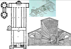 Reconstruction of plan, interior and exterior of Old St. Peter's, commissioned by Constantine, Rome, 320-327 (Early Christian Architecture)