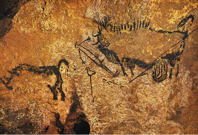 Rhinoceros, wounded man, and disemboweled bison, painting in the well of the cave at Lascaux