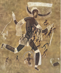 Running horned woman. Tassili n'Ajjer, Algeria. 6000-4000 bce Pigment on rock