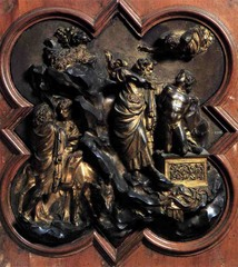 Sacrifice of Isaac by Lorenzo Ghiberti A competition panel for the east doors of the Baptistery of San Giovanni in Florence, Italy.  1401-1402