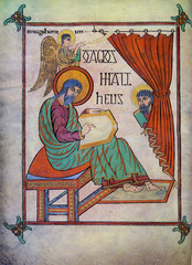 Saint Matthew from the Book of Lindisfarne,700,tempera on vellum,Hiberno-Saxon Art