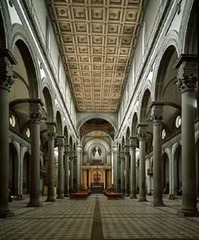 San Lorenzo Nave by Filippo Brunelleschi in Florence, Italy.  1421-1446
