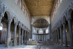 Santa Sabina Rome, Italy. Late Antique Europe. c. 422-432 C.E. Brick and stone, wood  The emphasis in this architecture is on the spiritual effect and not the physical. Helps to understand the essential characteristics of the early Christian basilica.