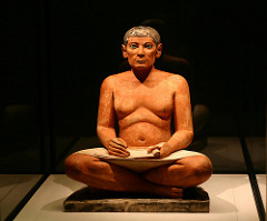 Seated scribe. Saqqara, Egypt. Old Kingdom, Fourth Dynasty. c. 2620-2500 B.C.E. Painted limestone.