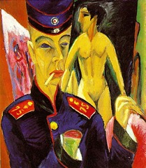 Self-Portrait as a Soldier Ernst Ludwig Kirchner. 1915 C.E. Oil on canvas Documents the artist's fear that the war would destroy his creative powers and in a broader sense symbolizes the reactions of the artists of his generation who suffered the kind of physical and mental damage Kirchner envisaged in this painting.