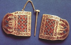 Shoulder Clasp, from the Sutton Hoo Ship Burial, England, 7th century CE, gold, granet, milldfiori (Migration Art or Anglo-Saxon Art)