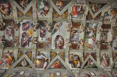 Sistene Chapel ceiling. Vatican City, Italy, Michelangelo. Ceiling frescoes: 1508-1512. fresco