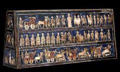 Standard of Ur from the Royal tombs at Ur. Sumerian. c. 2600- 2400 bce. wood inlaid with shell, lapis lazuli, and red limestone