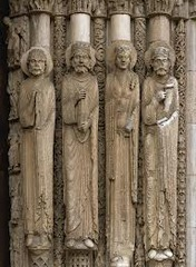 Statue Columns, Royal Portal, West Façade, Chartres Cathedral, b. 1134, France, limestone (Early Gothic Art)