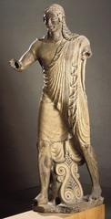 Temple of Minerva and sculpture of Apollo. Master sculptor Vulca. c. 510-500 bce original temple of wood, mud brick, or tufa (volcanic rock) terra cotta sculpture