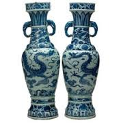 The David Vases  Yuan Dynasty, China. 1351 C.E. White porcelain with cobalt-blue underglaze These vases are among the most important examples of blue-and-white porcelain in existence, and are probably the best-known porcelain vases in the world. They were made for the altar of a Daoist temple and their importance lies in the dated inscriptions on one side of their necks, above the bands of dragons. The long dedication is the earliest known on Chinese blue-and-white wares. These vases were owned by Sir Percival David (1892-1964), who built the most important private collection of Chinese ceramics in the world.