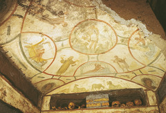 The Good Shepherd, Orants, and the Jonah Story, Ceiling Painting,  Catacomb of SS. Pietro and Marcellino, late 3rd/early 4th c. CE, Rome (Early Christian Art)