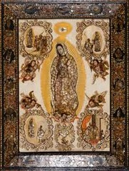 The Virgin of Guadalupe  Miguel González. c. 1698 C.E. Based on original Virgin of Gaudalupe. Basilica of Guadalupe, Mexico City. 16th century C.E. Oil on canvas on wood, inlaid with mother-of-pearl Our Lady of Guadalupe holds a special place in the religious life of Mexico and is one of the most popular religious devotions. Her image has played an important role as a national symbol of Mexico.