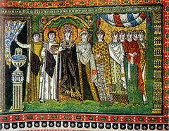 Theodora and Attendants, c.547,mosaic,Byzantine Art