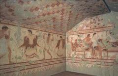 Tomb of the Triclinium, Tarquinia, Italy. Etruscan. c. 480-470 bce. Tufa and fresco