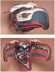 Transformation mask -Wood, paint, and string -Kwakwaka'wakw, NW coast of Canada.  -Late 19th century C.E.  function: mask worn over the head as part of costume, wearer can open and close the mask by strings during performance, at the transformation moment the mask is opened, hides the wearer's identity, gives wearer a connection to the supernatural world  context: