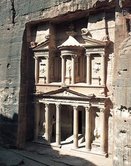 Treasury and Great temple(petra). West and Central Asia. Petra, Jordan. Nabataen Ptolemaic and Roman. c. 400BCE-100CE. cut rock. 2nd century Form: cut rock and fresco and corinthian columns, tholos, obelisk Function: tomb and temple Content: people buried in sandstone cliffs, statues of greek gods, Context: it used to be sealed, Nabataean the people who used to live here, Betavens invaded and took treasure, believed to be a tomb for a past king