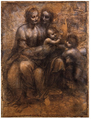 Virgin and Child with St. Anne Drawing by Leonardo Da Vinci  1501