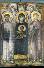 Virgin THeotokos and Child between Saints Theodore and George. Byzantine . 6th or early 7th century ce. Encaustic on wood