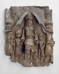 Wall plaque, from Oba's palace. Edo peo;les, Benin. 16th century. cast brass.