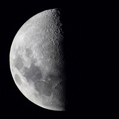 Which photo shows what we call a first-quarter moon?