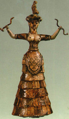 Woman or Goddess with Snakes, from the palace complex at Knossos, c. 1600 BCE, faïence (Minoan Art)
