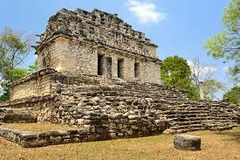 Yaxchilàn -Limestone (architectural complex). -Chiapas, Mexico.  -Maya.  -725 C.E.  function: city on high terrace, filled with important buildings context: Yaxchilán is a significant Mayan center and largely dates to the Classic period (AD 250-900) and a number of its buildings are still standing. It was built by ruler Bird Jaguar IV.